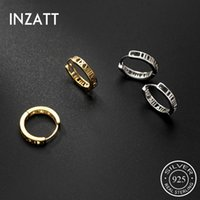 Hoop & Huggie INZAReal 925 Sterling Silver Hollow Geometric Earrings For Fashion Women Minimalist Fine Jewelry Hiphop Accessories
