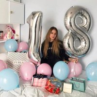 Party Decoration 2pcs 32 40 Inch Rose Gold Number Foil Helium Balloons Congratulate 18 20 21 25 30 Years Old Adult Birthday Decor Supplies