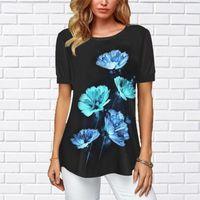 Donne Chiffon 3D Stampa Pure Basic Blouss Soft Tops Summer Top Casual Slip Sleeve Sleeve Blusa Camicia femminile # P4 camicie da donna