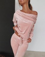 Sweatshirt Women 2 Pieces Set Tracksuit Autumn One Shoulder Suit Pants Sportswear Suede Thick Lounge Women's Hoodies & Sweatshirts