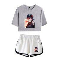 Women's T-Shirt Genshin Impact Hu Tao Two Piece Set Cool Women Sexy Shorts+lovely Cute Classic Dew Navel Sport Girl Suits