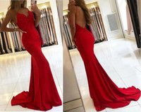 Sexy Spaghetti Mermaid Red Prom Dress Long Lace Applique Evening Gown Graduation Party Formal Dresses