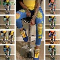 Women Jeans Designer Sexy High Waisted Hole Skinny Stretch Slim Denim Pants Calf Length Jeans Ladies Women Trousers Leggings 9 Colours