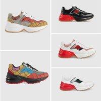 2021 디자이너 신발 Rhyton Sneakers Beige 남자 트레이너 빈티지 럭셔리 Chaussures 숙 녀 상자 최고 품질 크기 35-45