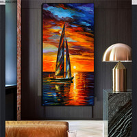 Modern Landscape Wall Decorations Canvas Painting For Living Room Boat Occean Sunset Red Sky Oil Painting Nordic Home Decor
