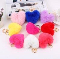 Heart Ball Pom Pom Keychain Fluffy Faux Rabbit Fur Pompom Keys Chain Women Bag pendant Jewelry Key Chains DB025
