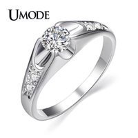 Cluster Rings UMODE Fashion White Gold Color CZ Crystal For Women Rose Zircon Engagement Ring Bague Femme AJR0064B