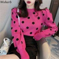 Woherb Long Feuillure Sleeve Knitwear Femelle Pull Sweater Vintage Polka Dot Imprimer Automne Hiver Top Hiver Jumper Coréen New1
