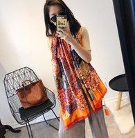 디자이너 실크 스카프 여성용 큰 크기 봄 여름 오렌지 꽃 인쇄 긴 스카프 스카프 포장 180x90cm Shawls S230