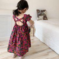 Kind Sommer Kleidung Mädchen Kleid Prinzessin Fairy Floral Backless Casual Sommerkleid Urlaub Strand Party Hochzeit Baby Mädchen Kleider