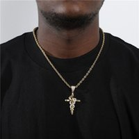 Pendant Necklaces Hip Hop Bling Iced Out Cubic Zirconia Stone Micro Paved Cross Snake Pendants With 4MM Rope Chain Men Charm Jewelry