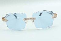 2021 أحدث نمط القطع عدسة XL الماس النظارات الشمسية 3524020، الأسود الطبيعي محكم بوفالو قرون المعابد النظارات، الحجم: 58-18-140mm