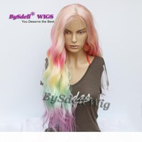 Fashion Long Loose Wavy Hair Wig Pastel Ombre Rainbow Color None Lace Lace Front Wig African American Cosplay Drama Party Wigs