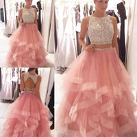 Exquisite Sequin Beaded Organza Ruffles Prom Dresses Two Piece Pink Crystals Bodice Long Evening Gowns Elegant Prom Party Dress