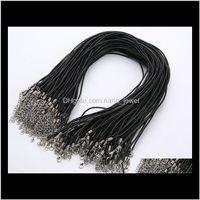 Constatations Wire Drop Livraison 2021 Vente en gros 2mm Bijoux Composants Lots Collier Noir Brown Cordon Vériel Cordon Cordon de homard Fermoir Fixation Pendentif 1TQKQ