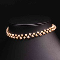 Ожерелья натуральные пресноводные жемчужные колье ожерелье для женщин свадебное вовлечение ручной работы изысканные ювелирные изделия GN0171
