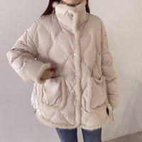 2021 Winter Jacket Women Fur Stitching Down Coat Loose Female Short Casual Warm Puffer Jacket Snow Parkas Outwear doudoune femme