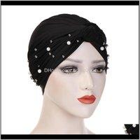 Bere / Kafatası Şapkalar Şapka, Atkılar Eldiven Moda AessoriiSummer Ince Dantel Türban Katı Pamuk İç Kapaklar Yumuşak Glitter Müslüman Kadın Bonnet WR