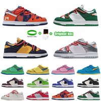 [Pulsera + Calcetines + Caja original] Supreme x Nk SB Dunk Low joint casual sports skateboard shoes OFF-WHITE x Nike Dunk Low x FL tripartite joint Dancing Bear