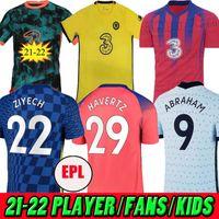 تايلاند الكبار 20 21 22 الثالث فيرنر Havertz Chilwell Ziyech Soccer Jerseys 2021 2022 Pulisic Home أزرق بعيدا أصفر حركة كرة القدم قميص كانتي جبل 4th الرجال قمم