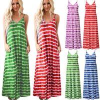 Casual Dresses 2021 Summer Women V-Neck Suspensory Sleeveless Dress Bohemia Stripe Print Ankle Long Female Loose Office Clothes