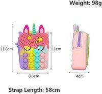 Monedero de silicona monedero toys de descompresión empuje fidget colorido en forma de unicornio en forma de unicornio característica popper burbuja de tambor de dedo juguete sensorial para niños regalos