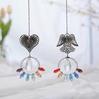 Obiekty dekoracyjne Figurki Suncatcher Angel Heart Faux Crystal Okno Wiszące Wiszące wisiorek z oliwnym koralikiem