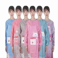 Adult Cute Lattice Aprons Long Sleeve Baking Apron Anti Oil Waterproof Animal Pinafore Pocket Kitchen Household Accessories