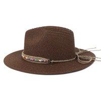 Yaz Kadın Şapka Katı Kemer Bant Batı Kovboy Rahat Güneş Şapka Saman Kahve Haki Beyaz Siyah Plaj Açık Yaz Kadın Şapka
