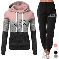 Women Tracksuit 2 Pieces Winter Hoodies+ pants Set Patchwork ...