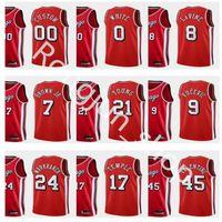Screen Print Men Basketball Zach 8 LaVine Nikola Vucevic 9 Coby White 0 Lauri Markkanen Red 2021-22 Edition City Jersey