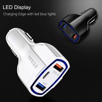 QC3.0 Fast Charging Chargers With LED Halo Light Type-C PD Car Charger for Phone Black White 2 Colors