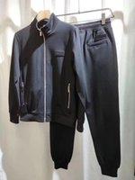 الربيع والخريف الأزياء الفاخرة هوديي رجل ترايكسويت عالية الجودة التسقي تصميم سستة سترة عارضة الرياضة تشغيل الأسود الرجال رياضية