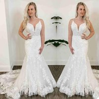 Vintage Full Lace 2021 Wedding Dress Mermaid Spaghetti Straps Corset Up Back Sweep Train Outdoo Garden Bridal Gowns robes de mariée Marriage Dresses