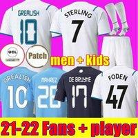 Jogador de fãs 21 21 22 22 Camisa de futebol grealish manchester Ferran Mahrez de Bruyne Foden 2021 Camisas de futebol Homem Men + Kids Meias Rúben City Kits G.Jesus 9