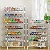 رف حذاء بسيط رف مع درابزين سهلة لتجميع الأحذية تخزين الوقوف علبة صينية توفير منظم الملابس خزانة