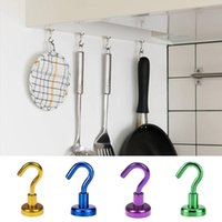 Hooks & Rails 2Pcs Strong Magnetic Multicolor Heavy Duty Wall Hanger Key Coat Cup Hanging Rack For Home Kitchen Storage Organization