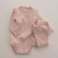 Clothing Sets 2021 Ins Baby Girl Autumn Boys Home Cotton Pajamas 2pcs Jumpsuit+pant Long Sleeve Suit 0-24m Twins Born Outfits