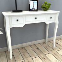 White Dressing Console Table with Three Drawers