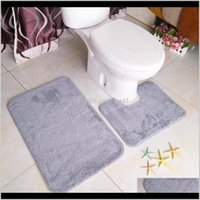 Aessories Home & Gardenproduct Solid Color Plush Bathroom Water Absorbent Non-Slip Two-Piece Carpet Floor Mat Minimalist Style Toilet Bath Ma