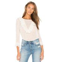 Yeni Varış Kadın Bluz Lady Uzun Kollu Gömlek Fırfır Tops 2021 Moda Bluz Gömlek Polka Dot Baskı Bluzlar Bayan Bluzlar