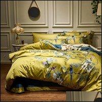 Sets Supplies Textilien Home Garden4Pcs Seidige ägyptische Baumwolle Gelbe Chinoiserie-Stil Vögel Blumen Duvet Erbett Anpassungsblech King Size Qu