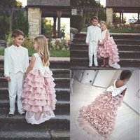Arrival Blush Pink Ruffles Flower Girl Dress Long Princess Party Prom Cute Formal Pageat Gown