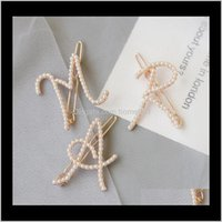 & Barrettes Jewelry Drop Delivery 2021 Elegant Women Letter Pearl Hairpins Korean Sweet Girls Clips Bobby Pins Barrette Clip Hair Aessories G