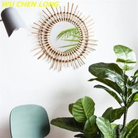 Specchi WU Chen Lungo Moderno Rattan Mirror Specchio Appeso Appeso Decorazione Decorazione Decorazioni Artigianato Casa Makeup Murale Pendente Guesthouse R5669