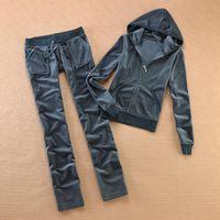 Brand Velvet 2021 Tessuto da donna Tracksuits Velor VeloR Donne Pista con cappuccio e pantaloni Sapphire