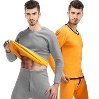 Men's Tracksuits Thermal Underwear With Velveteen Thick Suit Gold Plain 3XL Crewneck Pajamas Sweatshirt Black