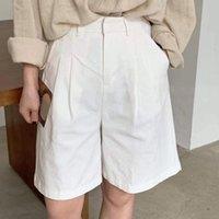Shorts das mulheres toppies de linho branco perna largo verão mulher cintura alta streetwear 2021