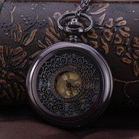 Wholesale 100pcs lot Pendant Chain Quartz Bronze Watch Hollow Pocket Watch PW116