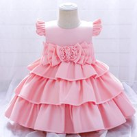 Girls Dresses 1st Birthday Dress For Baby Girl Princess Clothes Children Clothing Kids Tiered Skirts Party Formal Pageant Flower B7253